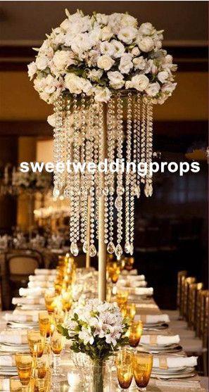 الذهب الزفاف محور الاكريليك حبة فروع ، طويل القامة 60cm الاكريليك زهرة الكريستال الوقوف لديكور الزفاف الجدول.