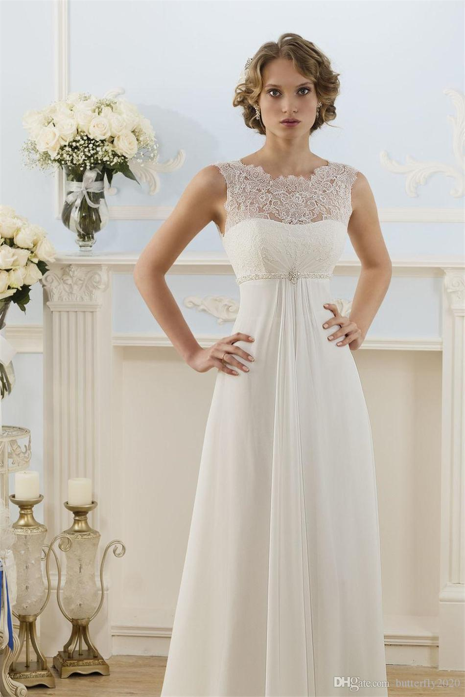 Cheap Elegant Lace Chiffon Beach Wedding Dresses Beading Belt