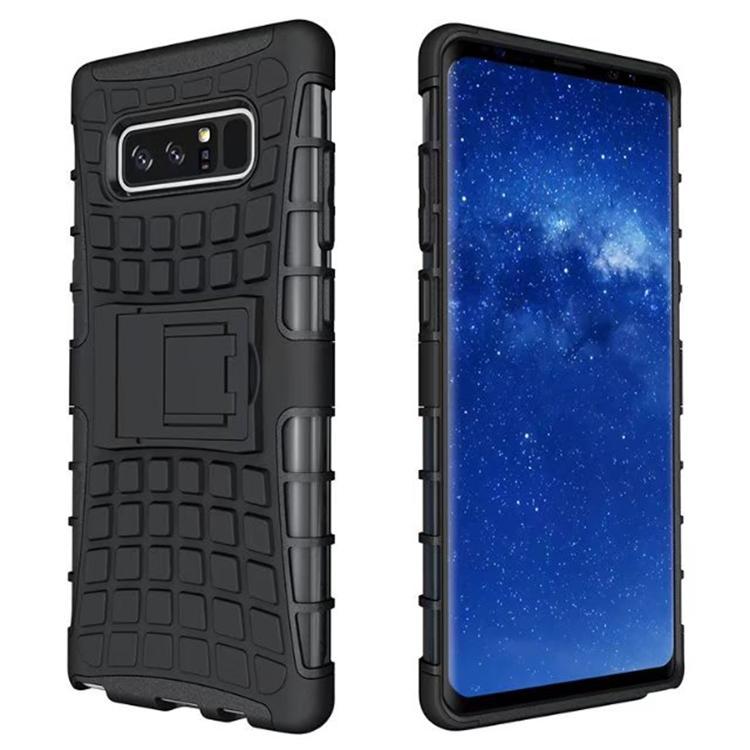 Telefon Aksesuarları ile Kickstand TPU PC Sert Zırh Telefon Kılıfı Darbeye Dayanıklı Kılıf Samsung Galaxy Not için 8 / N950F