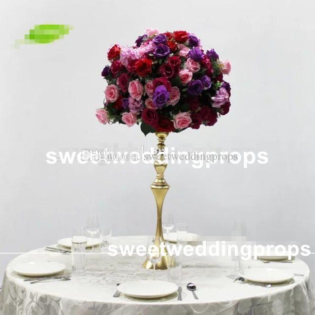 nessun fiore compreso) Supporto per fiori alto in argento da matrimonio, centrotavola per decorazione navata laterale