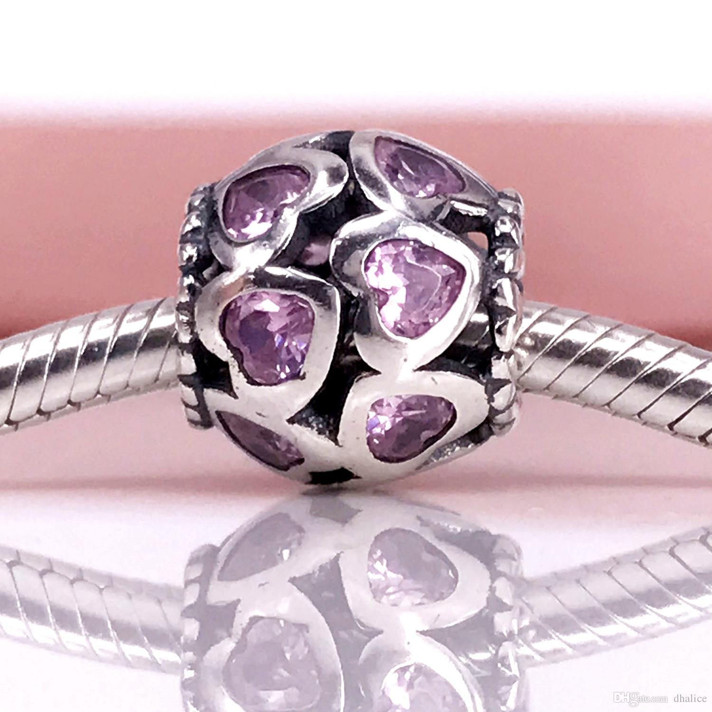 Autentico argento sterling 925 amore tutto intorno, fantasia rosa cz ciondolo braccialetto fai da te Pandora e collana 791250CZS