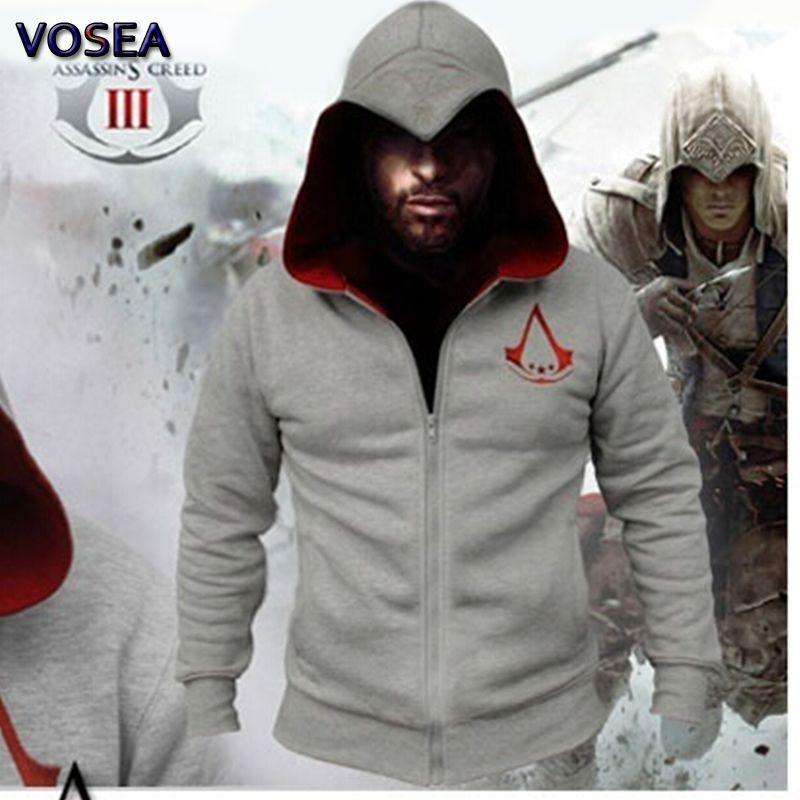 Toptan-2016 Bahar Yeni Moda Sonbahar Kış Assassin Creed Hoodie Kazak Chadal Hombre Cosplay Kostümler Fermuar Kapüşonlular Men Soğuk