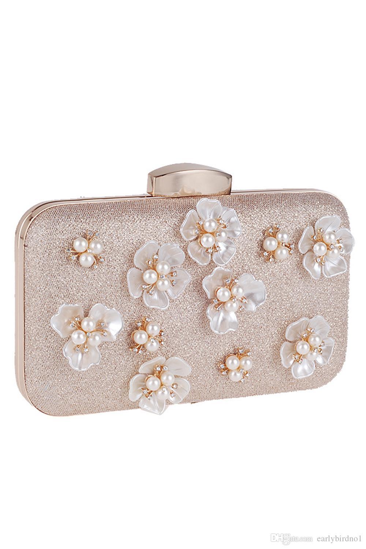 اليد التي قدمت الزهور اللؤلؤ الزفاف حقائب اليد حقائب النساء مخلب للمشاهير مساء حقائب السيدات Minaudiere مع سلسلة CPA955