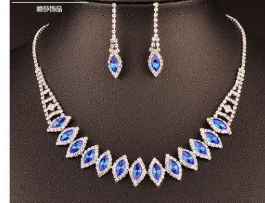 Blue Crystal Mariage Mariée Ensemble Collier Boucles d'oreilles (Shuizuanset 13.8)