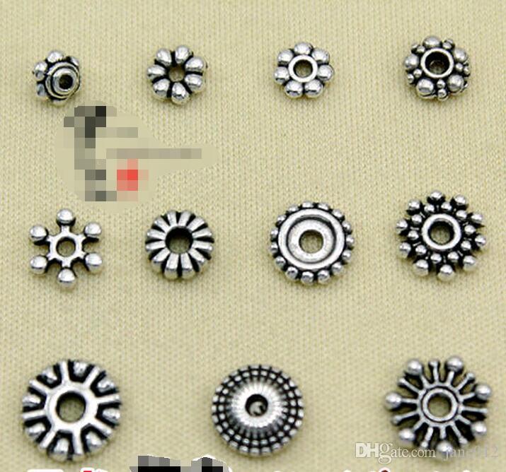 Acessórios de jóias de Prata Tibetano Retro Spacer Beads Descobertas Estilos Mistos Mão bead string para Pulseiras 100 pcs