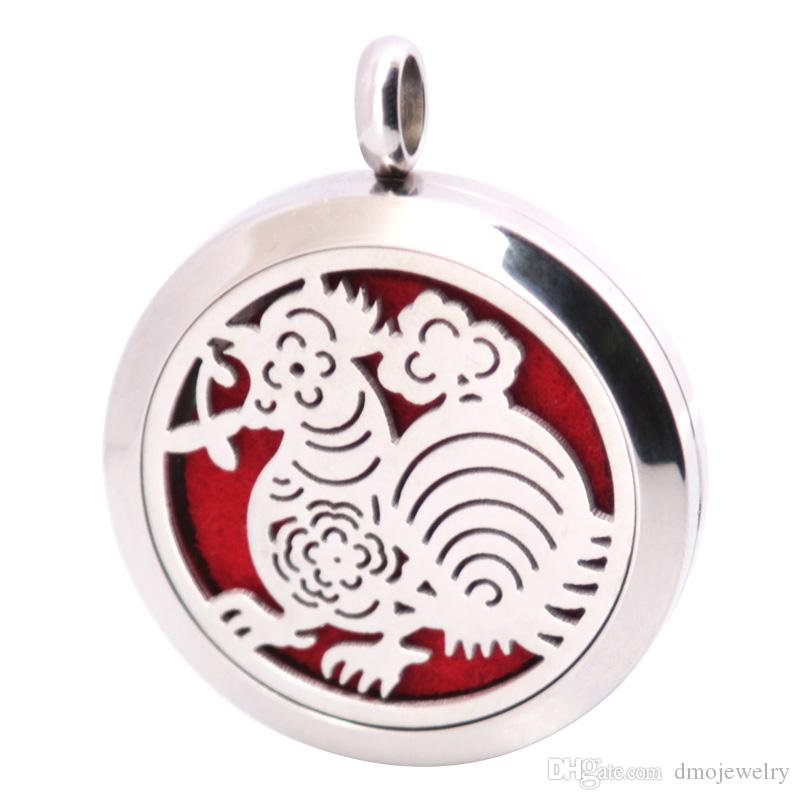 Cock 316 Stainless Steel Necklace Pendant Aroma 30mm Locket Essential Diffuser Oils Lockets Free 50pcs Felt Pads As Gift