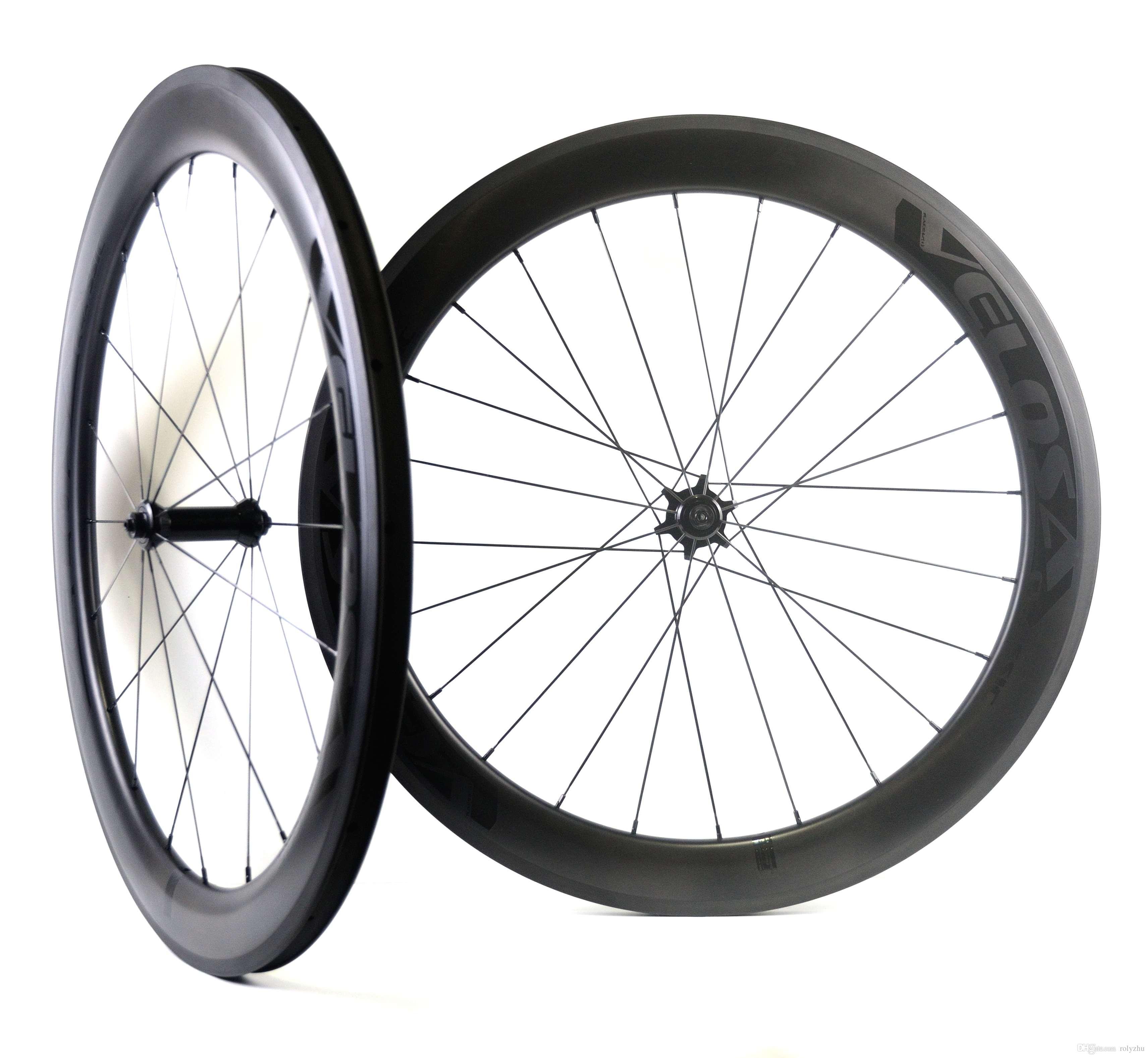 700C 60mm depth road carbon wheels 25mm width Tubular/clincher Road bike carbon wheelset UD matte finish velosa light decal free shipping