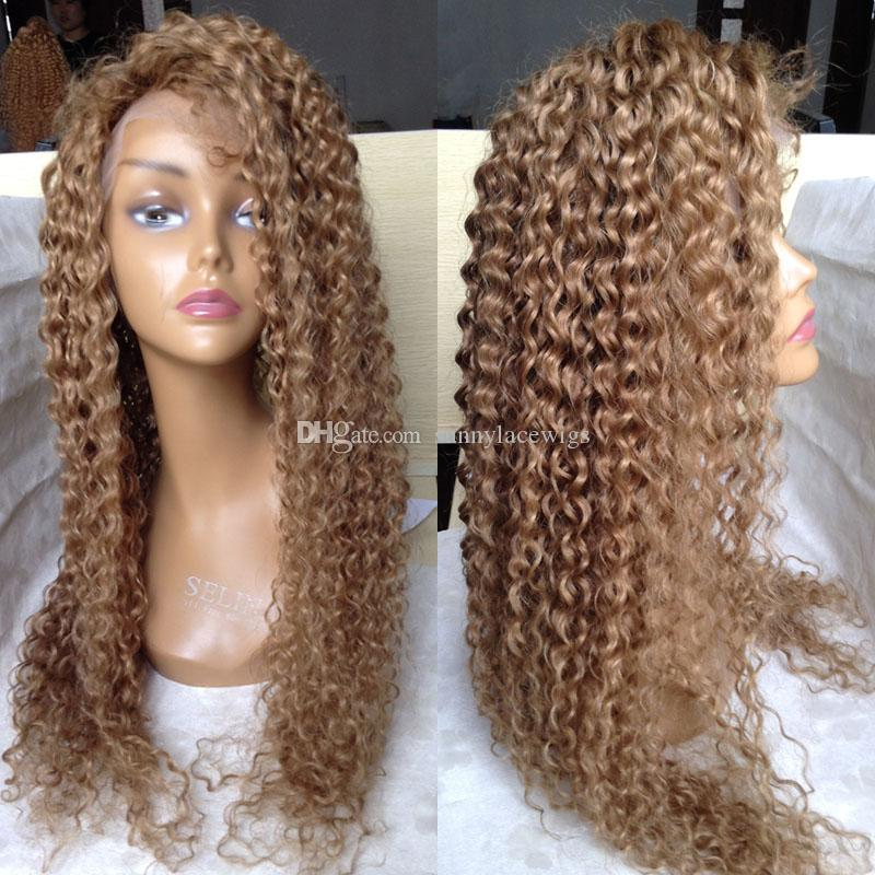 Honey Blonde Brazilian Full Lace Human Hair Wigs For Black Women Blonde Kinky Curly Glueless Lace Front Wig With Baby Hair Full Cap Wigs Long Full