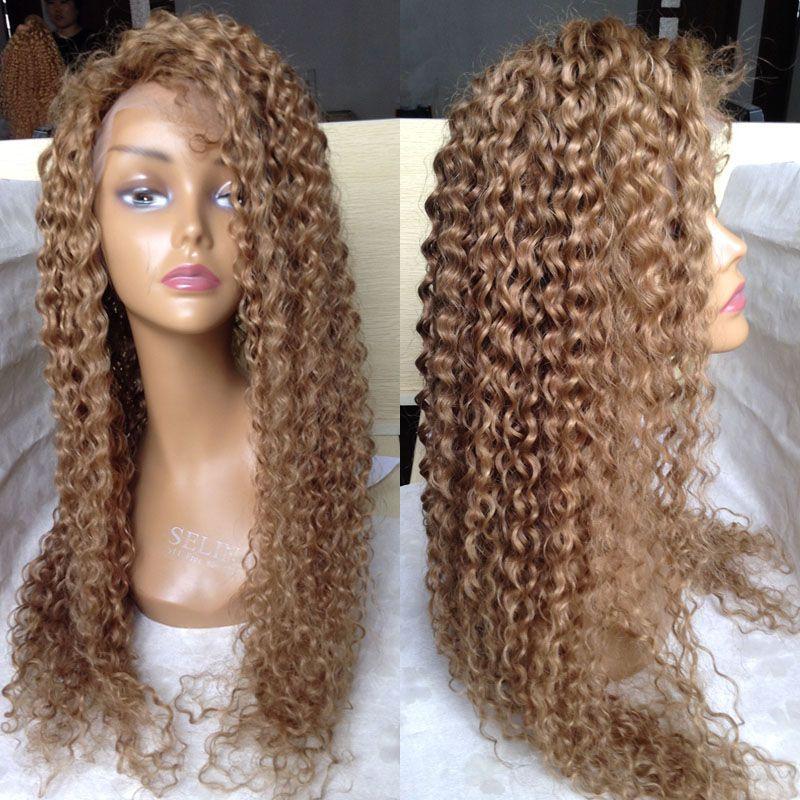 Mel loira brasileira Lace completa Cabelo Humano Perucas Por Negras Loiro Kinky Curly Glueless parte dianteira do laço peruca de cabelo do bebê com