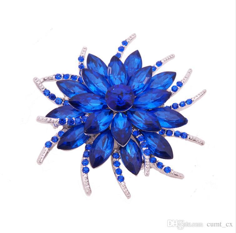 Broche de Cristal austríaco Pinos Para As Mulheres Top Quality Flor Broches Jóias Moda Festa de Casamento Convite Bijoux Broche Femme