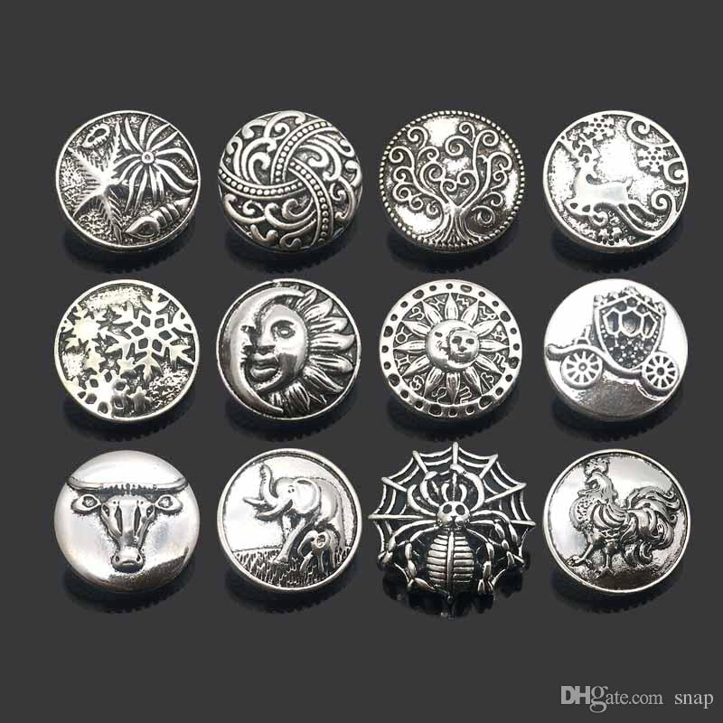Interchangeable w332 Tree Moon 18mm metal snap button for Bracelet Necklace Jewelry For Women jewelry Fashion accessorie