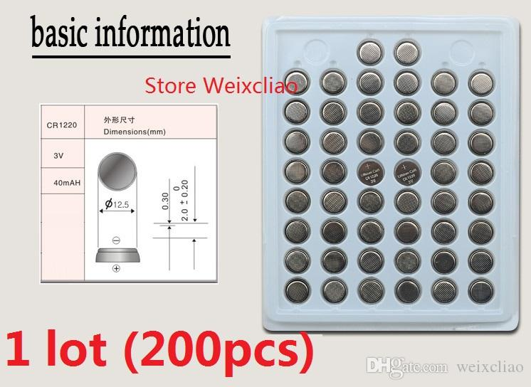 200pcs 1 lot CR1220 3V lithium li ion button cell battery CR 1220 3 Volt li-ion coin batteries tray package Free Shipping