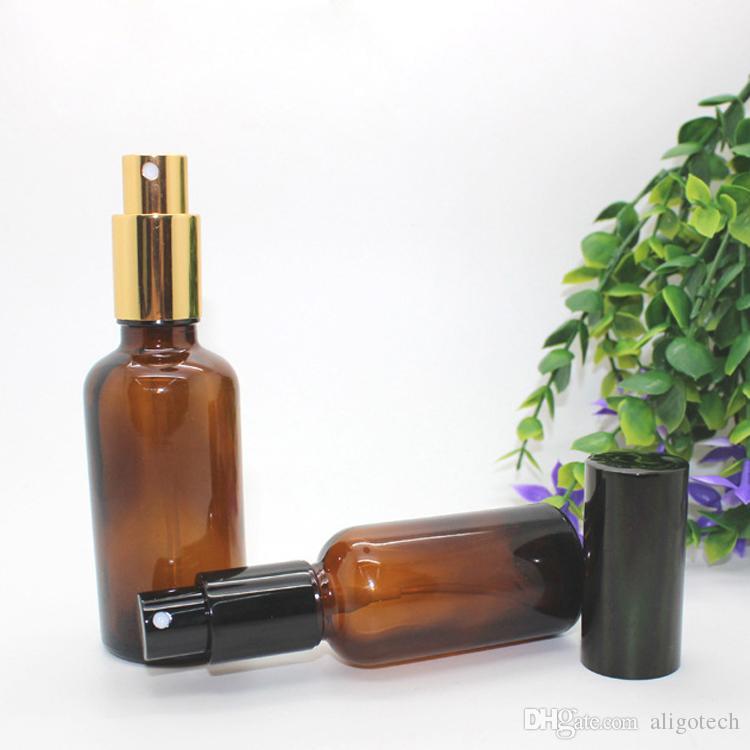 VENDITA CALDA Bottiglie Ambra spruzzatore 30ml 50ml 100ml con Black Gold spruzzatore pompa atomizzatore per profumo estetica essenziale Olio Make Up Bellezza