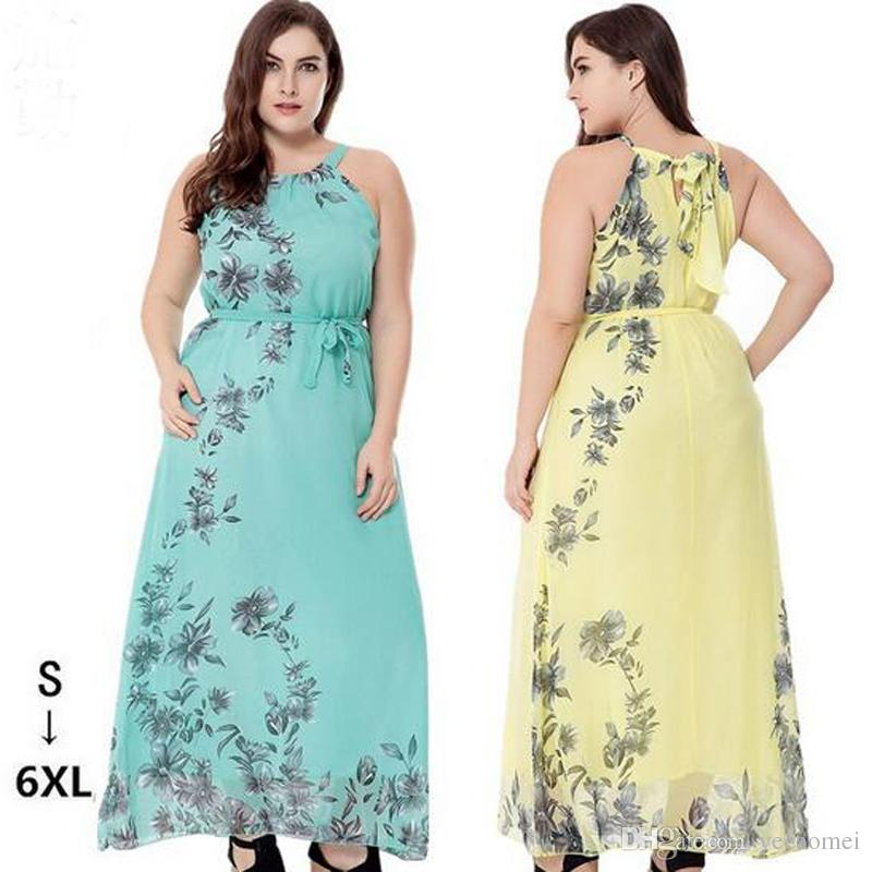 Summer Beach Bohemia Chiffon Long Dress Floral Printing Dress Casual Dresses 3 Colors Plus Size 6XL For Womens Party Dress Free Shipping