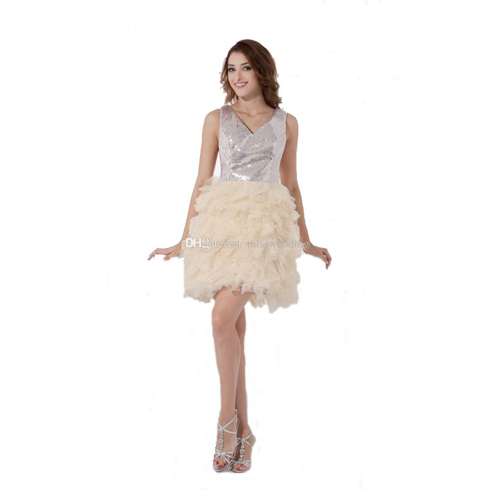 Puffy Skirt Party Dress Evening Above Knee Length Sequined Sexy V-neck Ladies 2017 Special Occasion Dress