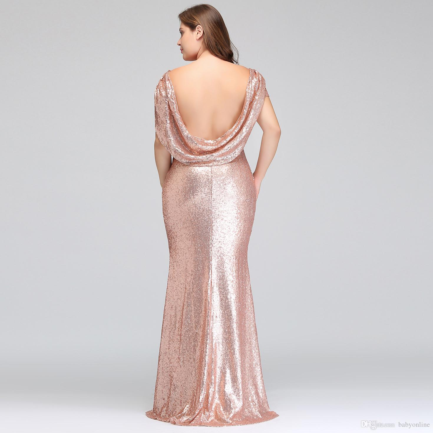 1aca31eb95f871 Plus Size Rose Gold Bridesmaid Dresses Long Sparkling 2018 New Women Elegant  Mermaid Sequined Evening Prom Party Gown Celebrity Formal Dress