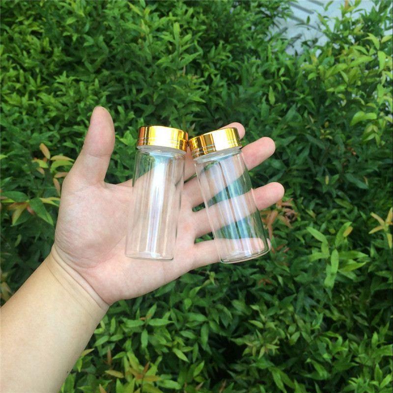 90ml Glass Decoration Bottles with Gold Aluminum Screw Cap Wedding Gift Bottles Jars Christmas Decoration