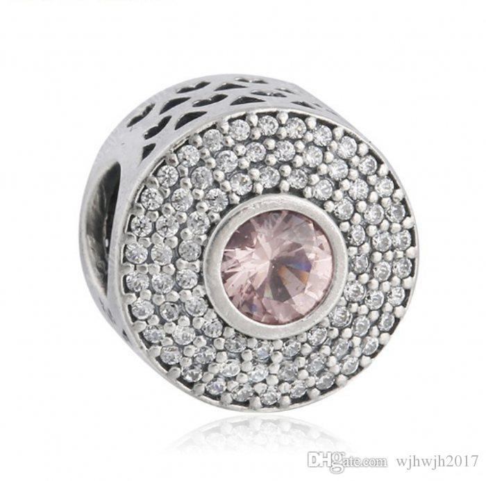 Новые Pave Кристалл Круглые бусины шарма приспосабливает европейские браслеты шарма стерлингового серебра 925 Розовый кристалл Radiant Splendor шарика Diy Fine Jewelry