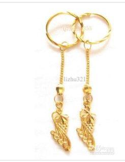 Pendientes rellenos de oro amarillo verdadero de 18k de mujer