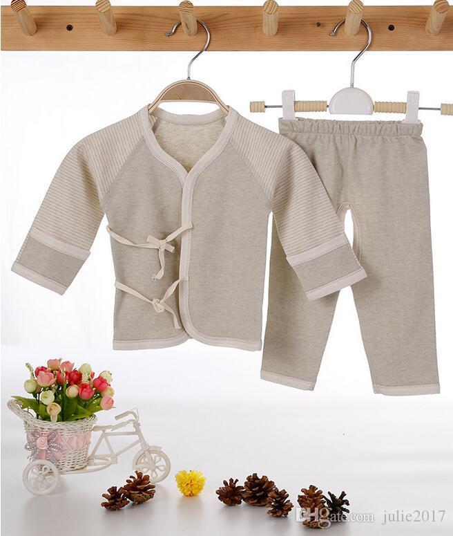 (2 teile / satz) Neugeborenes Baby 0-12 Mt Junge Mädchen warme Kleidung set Natürliche Weiche Baumwolle schulterknöpfe Herbst Unterwäsche baby set