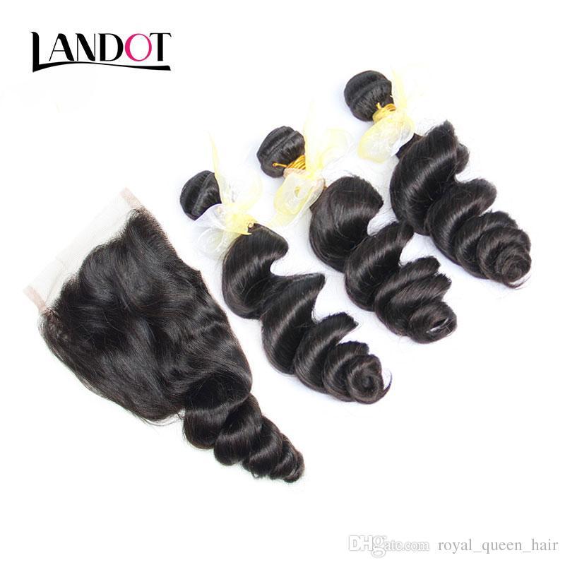 4pcs / Lot Perulu Bakire Saç Gevşek Dalga ile Kapatma Perulu Gevşek Derin Dantel Üst Kapaklar Ve 3 Paketler Perulu Bakire İnsan saç örgüleri