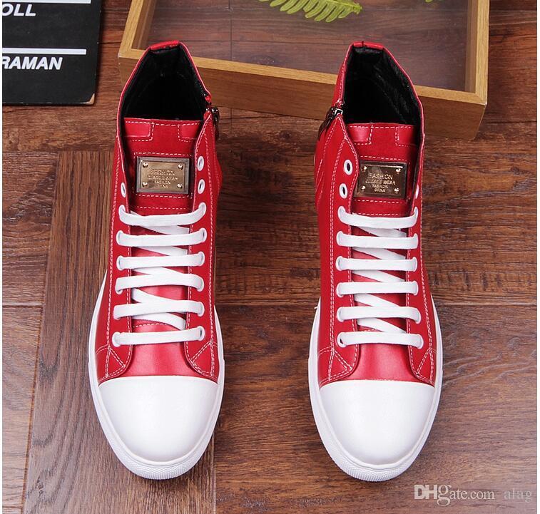 Nuovi uomini di moda Designer di lusso Nero rosso High Top Hip hop Appartamenti casual Scarpe casual Casual Scarpe di alta qualità AXX419