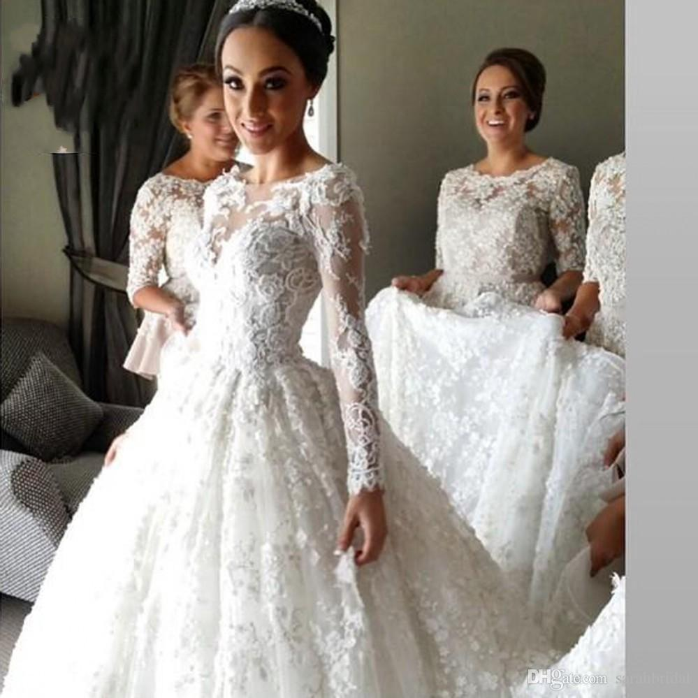 Discount New Celebrity Wedding Dresses With Veil Lace Vintage Style Cheap  Modest Women Long Sleeves Plus Size Train Bridal Ball Gowns Cheap Wedding