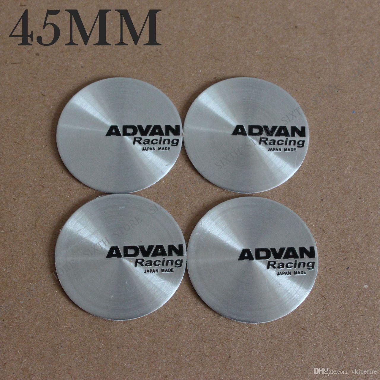4pcs 45mm Racing Emblem Wheel Hub Caps Sticker Center Cover Racing Sport Decal