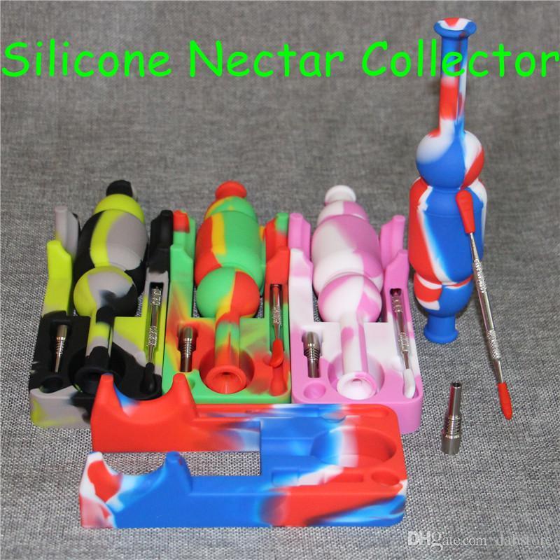 2017 Colorful narghilè Silinectar con 120mm dabber silicone nettare collettore 10mm giunto ti chiodo 10mm maschio chiodo di titanio DHL