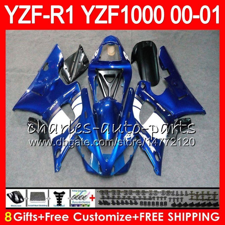 Carroçaria para YAMA YZF1000 YZFR1 00 01 98 99 YZF-R1000 Corpo 74HM3 TOP azul branco YZF 1000 R 1 YZF-R1 YZF R1 2000 2001 1998 1999 Kit de Carenagem