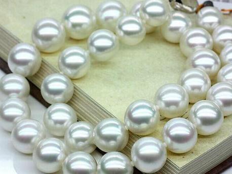 Großhandel 11-12mm Südsee runde weiße Perlenkette 18inch S925 Silber Verschluss
