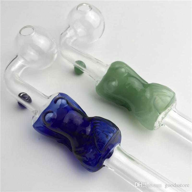 tubo bruciatore olio di vetro con blu colorato modello ragazza colorata 6 pollici curva pyrex bruciatore a olio tubi mano tubo di vetro spesso