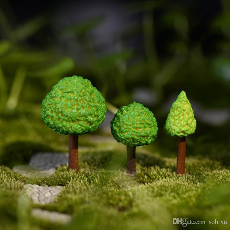 12 stücke Cartoon Baum Harz Handwerk Fee Garten Miniaturen Bonsai Werkzeuge terrarium Figuren Landschaft Puppenhaus Jardin Gnomes Dekoration