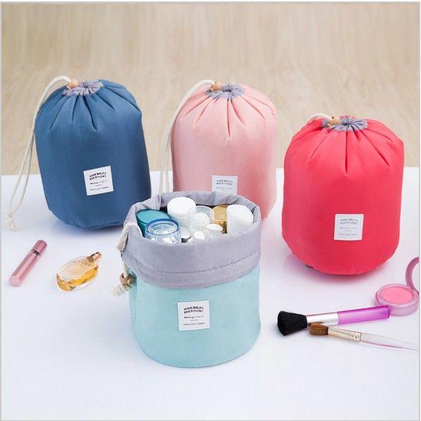 Mix 6 colors New Korean elegant large capacity Barrel Shaped Nylon Wash Organizer Storage Travel Dresser Pouch Cosmetic Makeup Bag For Women
