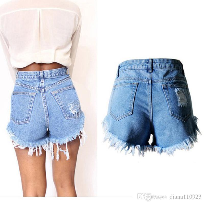 2017 Women Fashion Holes Tassles Denim Shorts Buttons Crimping ...