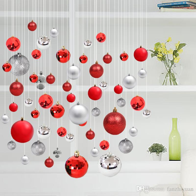 Hanging Christmas Decorations.6cm8cm Christmas Ball Ornaments Color Ball Shopping Mall Hotel Shop Shop Hanging Room Room Hanging Ball Christmas Decorations Christmas Decorations
