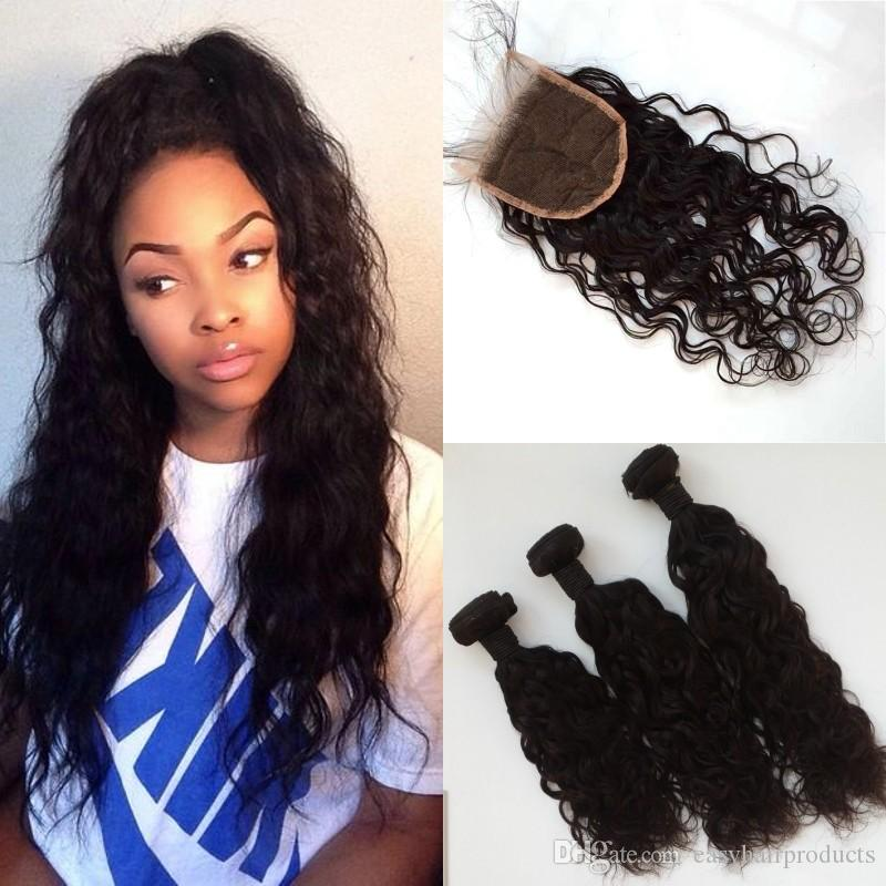 Indian Human Hair Bundle With Lace Closure 4x4 Bleached Knots Virgin Water Wave Hair Extensions Closure G Easy Straight Hair Weave Styles Human Hair Weave Uk From Easyhairproducts 18 6 Dhgate Com
