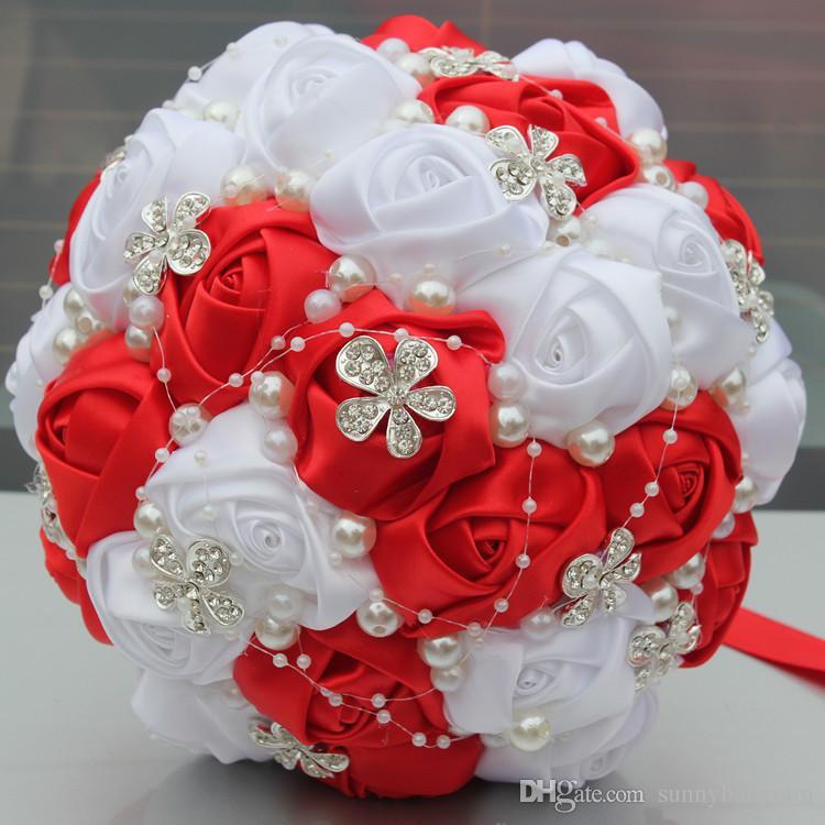 Acheter Mariage Rouge Et Blanc Bouquet De Mariee Fournitures De Mariage Perles De Fleurs Artificielles Strass Doux 15 Bouquets De Quinceanera W224 Q