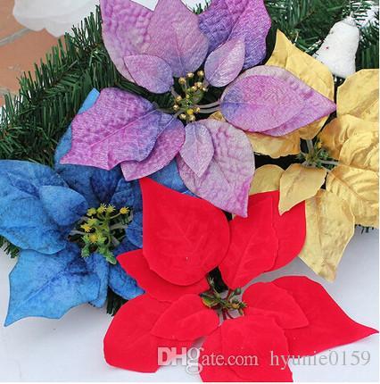 送料無料人工偽の花の素材クリスマスの花ポインセチアの花の装飾