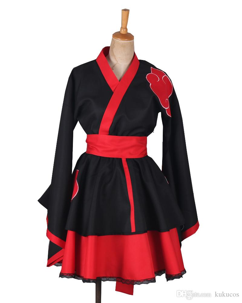 Kukucos Anime Naruto Lolita Dress Dark Red Kimono Style Cosplay Costume Halloween Party Dress Up