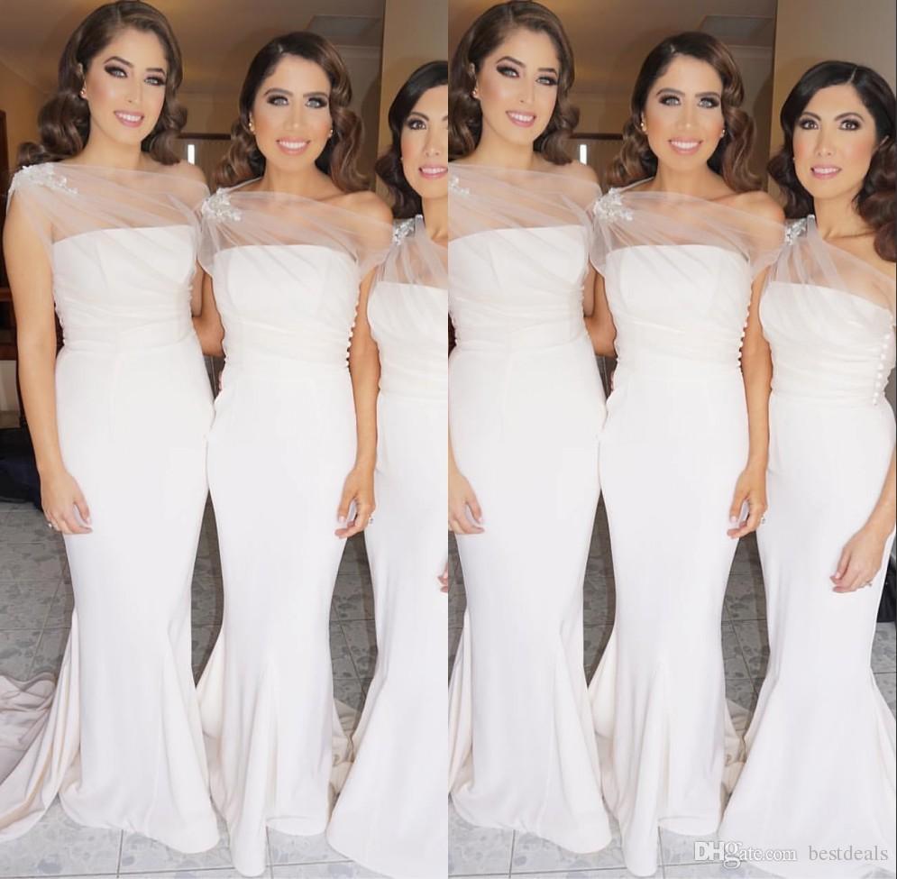 2017 Elegant White Mermaid Bridesmaid Dresses With Pleats Satin Strapless Sweep Train Wedding Party Dersses Cheap