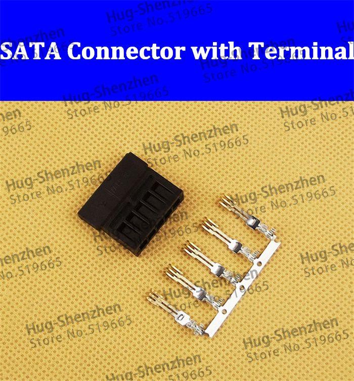 50pcs Pin tipo 3811- Connettori di alimentazione SATA terminali di cablaggio un set di: shell + terminale