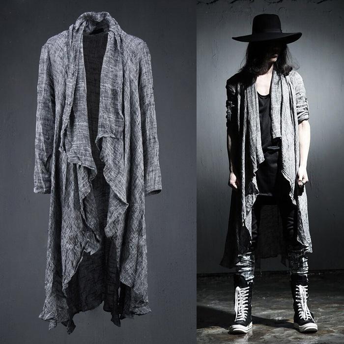 Venta al por mayor- Para hombre de manga larga de lino Fold Retro Shawl Cardigan Trench, los hombres de largo estilo de tiro Punk Rock moda suéteres hombres de la capa prendas de abrigo, Q64