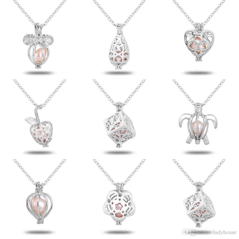 Wholeasle (compresa la catena) 18kgp Fashion Love Wish Perla / Perle Pendenti Locket DIY Collana di perle Pendenti di fascino Montaggi