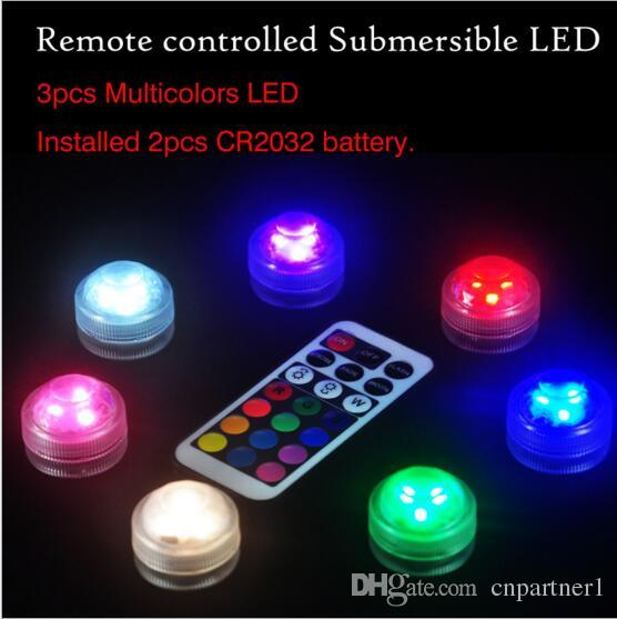 RGB Mini led diamond lamp 3 led patch waterproof IP68 candle light remote control colorful diving light night light 7 color control