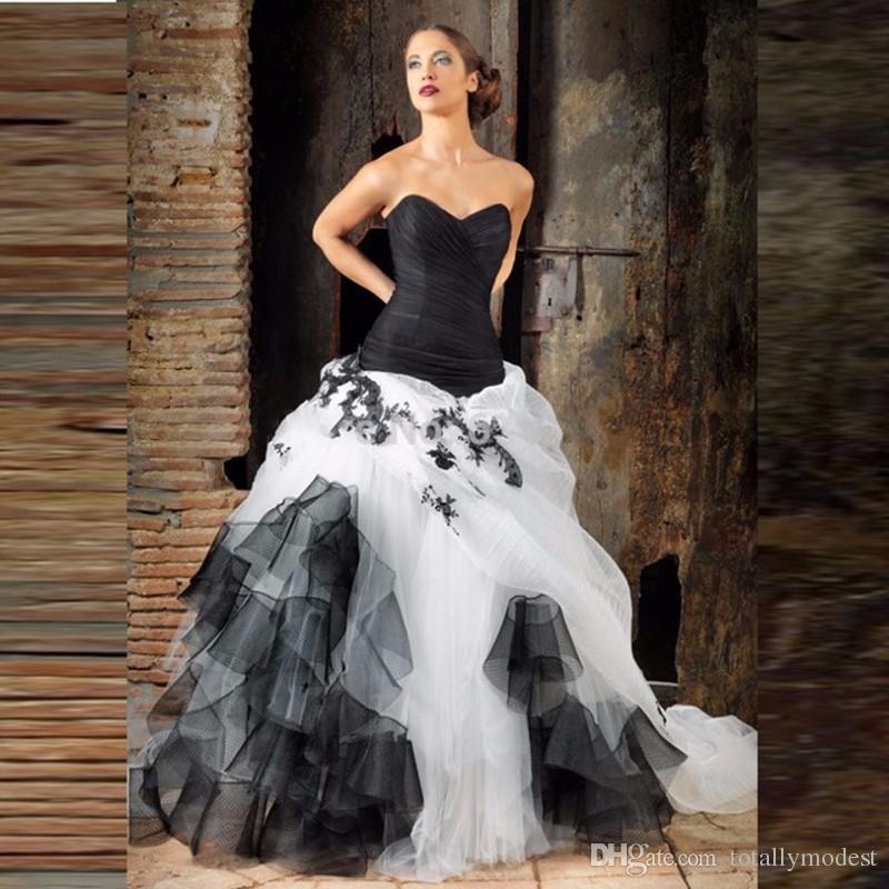 Vestiti Da Sposa Gotici.Acquista Abiti Da Sposa Gotici In Bianco E Nero Abito Da Ballo