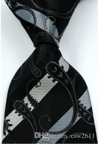 남성 실크 스트라이프 꽃 넥타이 블랙 그레이 자카드 파티 웨딩 짠 패션 디자인 csw31 긴축