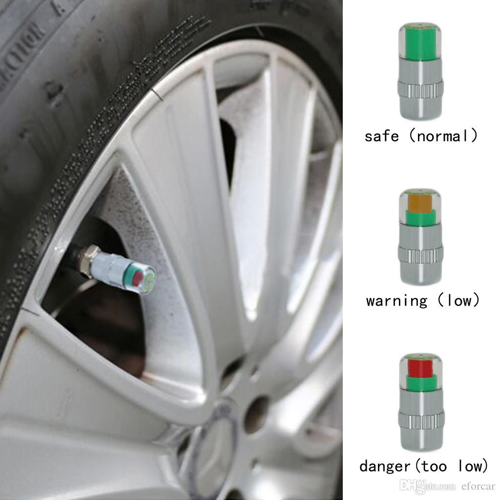 4Pcs / Pack 2.2bar / 2.4bar 자동차 자동 타이어 공기 경고 경고 타이어 압력 센서 모니터 밸브 캡 표시기