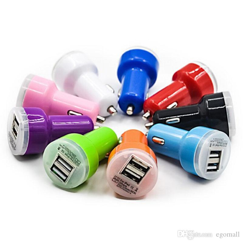 2000X Candy dual usb car charger Auto Charger Adapter for 4/5/5C/5S/Samsung HTC iPod iPad Blue LED Candy Color