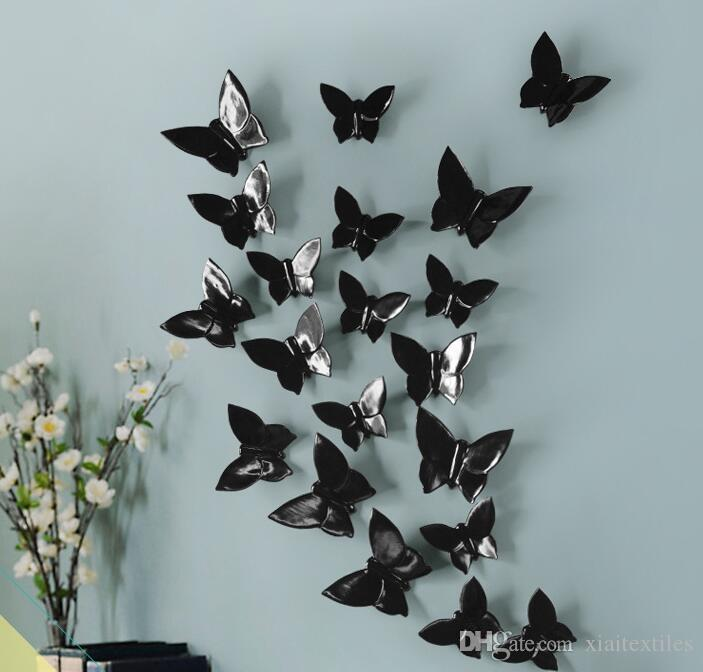 4colour Creative Wall Jewelry Home Exhibition Hotel KTV Villa Decorative Wall Pendant Butterfly Resin Craft decoration hook 5PC/SET B700